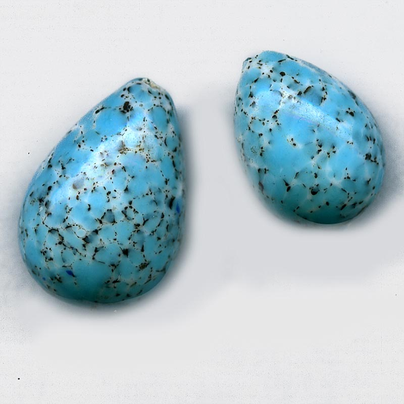 b11-bl-1110. Czech glass teardrop with speckled blue Picasso finish. Available in 2 sizes. Sold individually.