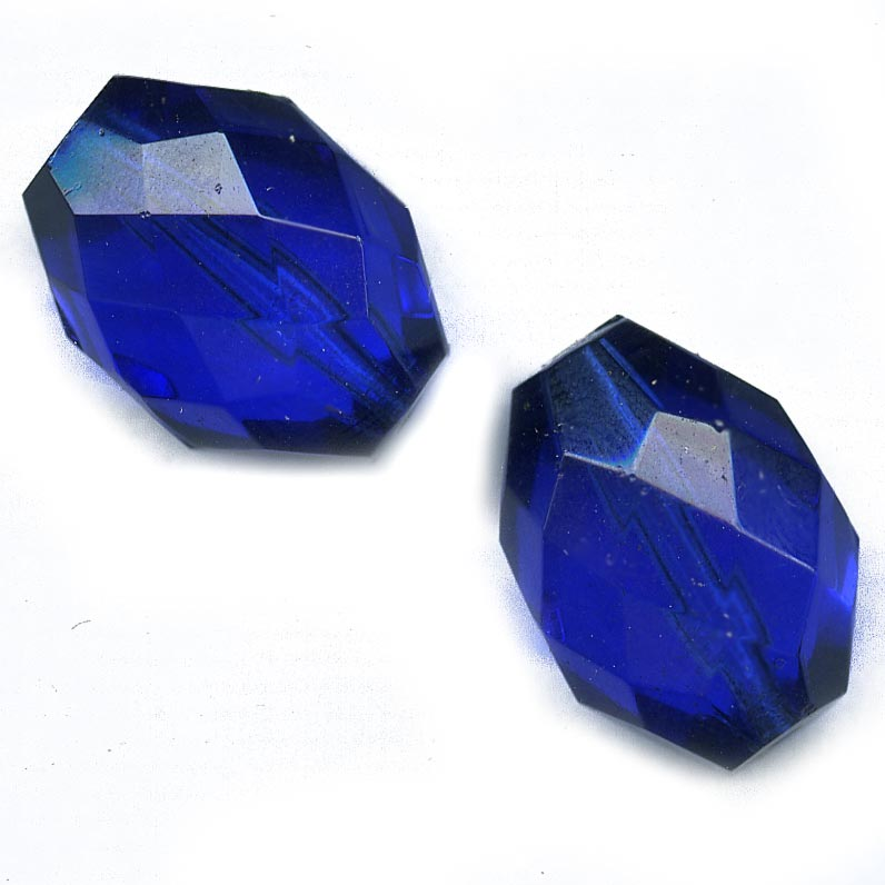 Vintage faceted translucent cobalt blue ovals. 18x12mm. Pkg of 2. b11-bl-1114