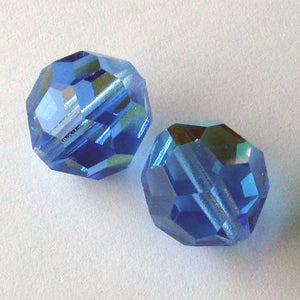 Vintage Czech tin-cut sapphire AB faceted crystal rounds, 15x14mm. Pkg of 2. b11-bl-1124