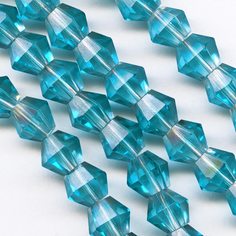 Vintage Japanese tin cut faceted aqua bicone 7mm, pkg of 10. b11-bl-1127