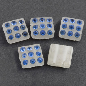 Rare Art Deco matte frosted glass 2 hole squares with rhinestones 8x8x4mm pkg of 6. b11-bl-1130