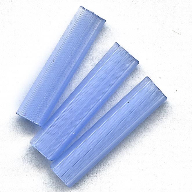Vintage West German blue satin glass pentagons, 21x5mm. Pkg of 4. b11-bl-1132
