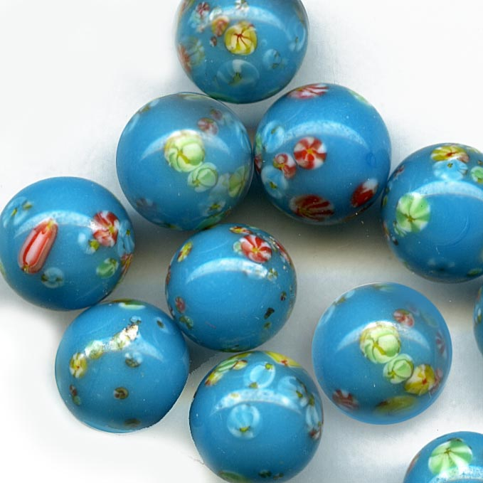Vintage 8mm turquoise blue Japanese milefiore beads, top drilled. Pkg of 4. b11-bl-1134