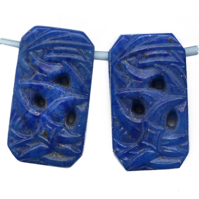 1920s Gablonz molded lapis glass pendants. 11x20mm. Pkg of 4. b11-bl-2005
