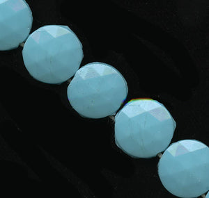 Old Czech large flatback 2 hole beads in cerulean blue 14mm pkg of 12. b11-bl-2011