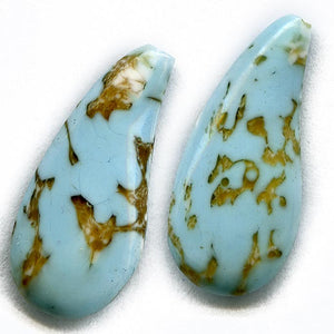 Old Czech blue mottled curved teardrop 26x10mm pkg of 2. b11-bl-2013