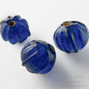 Vintage translucent blue melon beads with white core, India, 9mm package of 6. b11-bl-2031