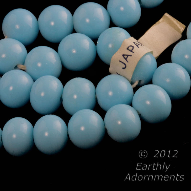 Vintage Japanese turquoise blue beads. 8mm. Package of 10. b11-bl-2064