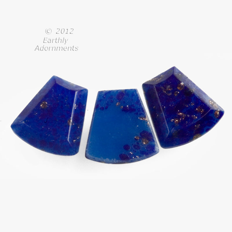 Vintage lapis glass 13x12mm flat back wedge. Package of 4. b5-861(e)