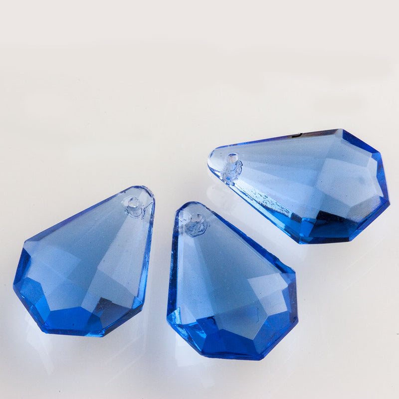 Vintage 20x14mm machine cut faceted glass drops in a brilliant sapphire. Czechoslovakia. Pkg. of 2. B11-bl-2077