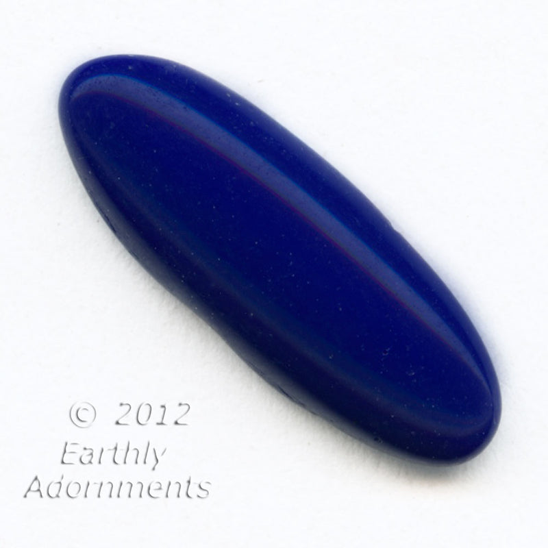 Vintage West German lapis blue navette glass flat back cabochon. b5-904