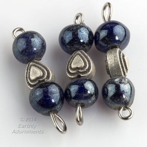 Wired links with charcoal blue glass and silver metal heart.