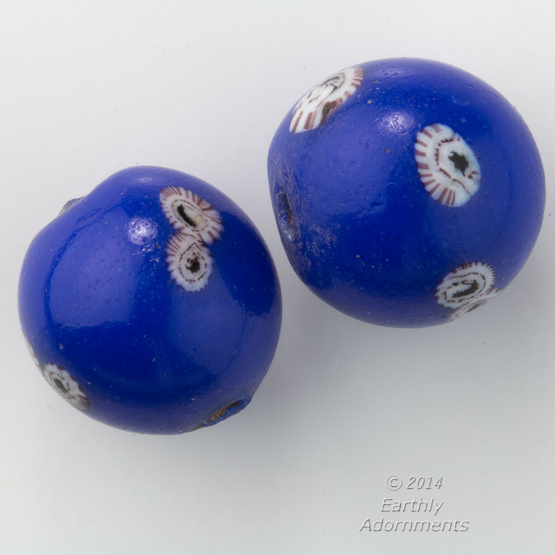 Chinese cobalt blue Peking glass bead with millefiori 18-20mm. Sold individually. b11-bl-2113