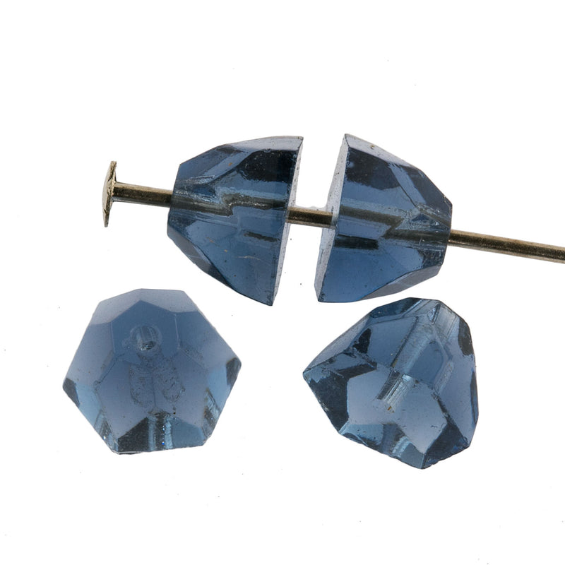 Vintage machine cut faceted Montana blue glass half-cone bead. 9x8mm. Pkg.6.  b11-bl-2132