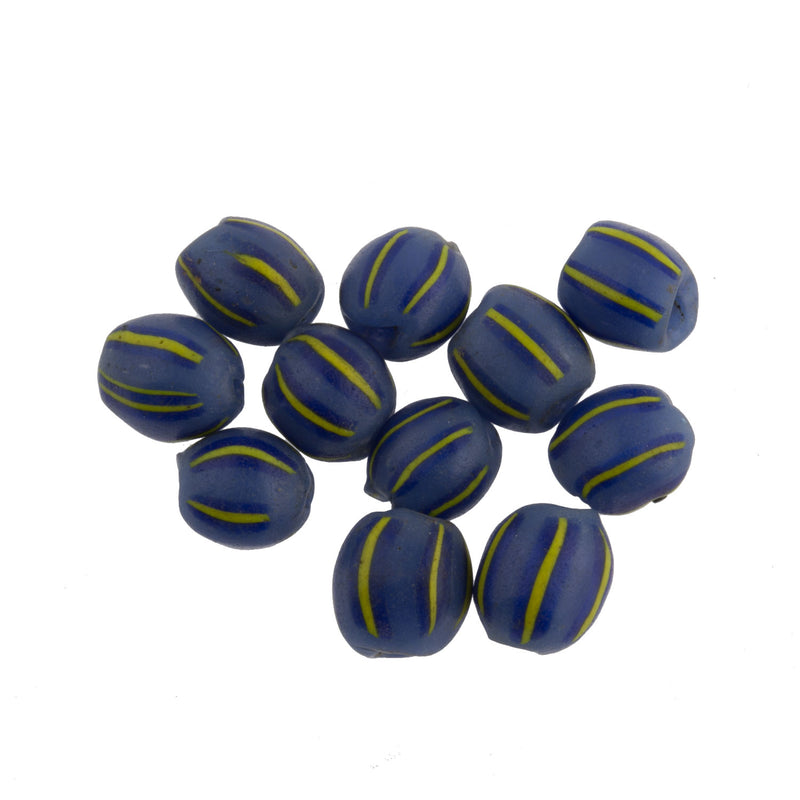 Vintage Venetian striped ovals for the African trade, 10x8mm.  Pkg of 6.  b11-bl-2133