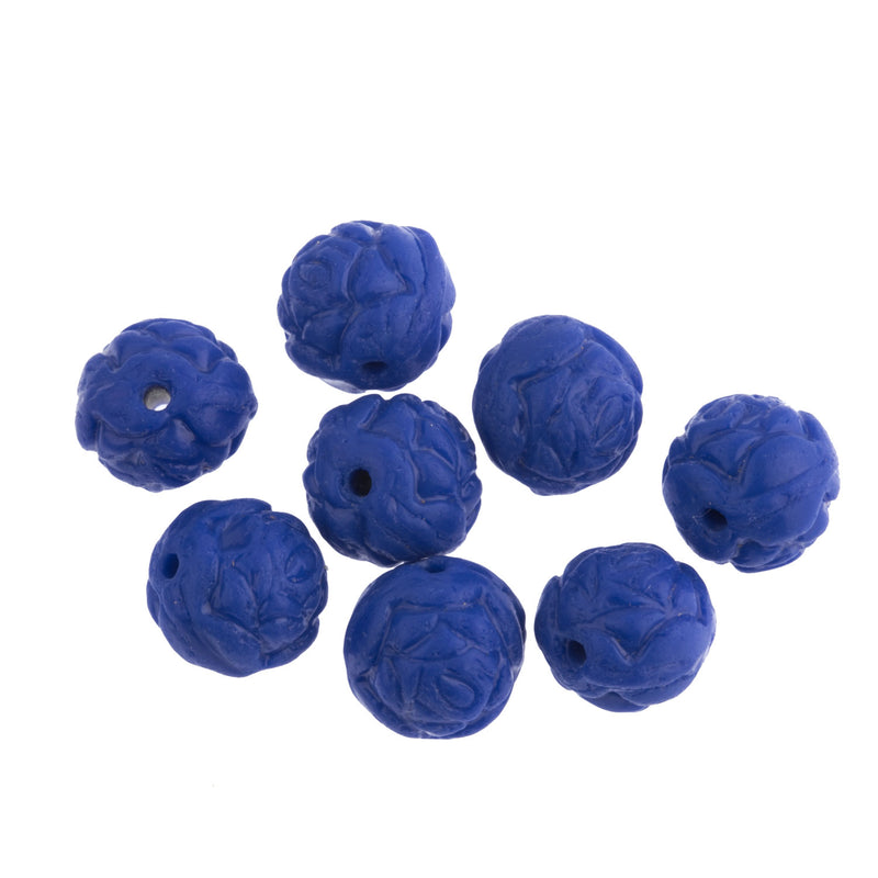 Vintage Czech molded lapis blue glass flower bead. 8mm.  Pkg 8. b11-bl-2134