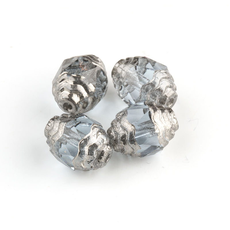 Czech 10 x 8mm Alexandrite blue faceted glass oval bead with silvered circular edges. Pkg. of 4. b11-bl-2137