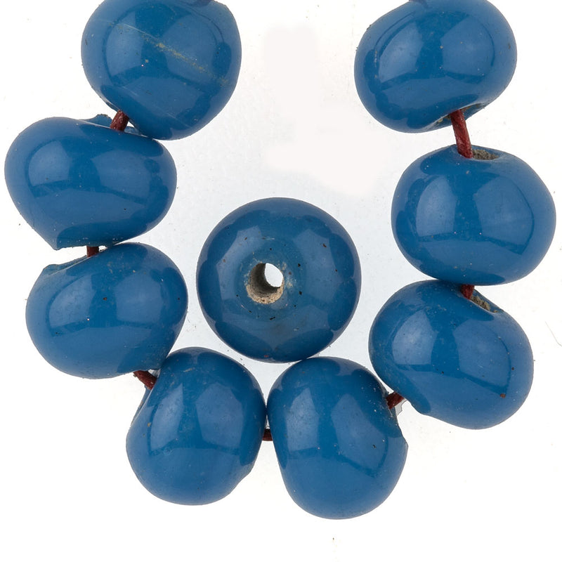 Vintage Chinese Peking Glass Basket Beads in opaque med blue. 8-9mm. Pkg of 10. b11-bl-0748
