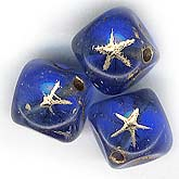 b11-bl-0765 Czech cube bead with gold star. 7mm. Pkg of 10