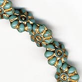 Turquoise Czech Glass Flower Bead. 9mm. Pkg of 10. b11-bl-0766(e)