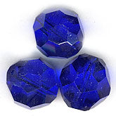 Vintage Korean hand faceted cobalt blue rounds. 12mm. Pkg. of 2. b11-bl-0820