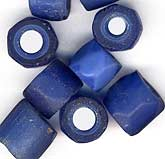 Russian blue beads for African Trade. Average size 10x12mm. Sold in pkg. of 6. b11-bl-0843(e)