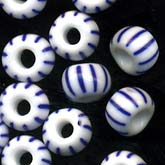 b11-bl-0916-Venetian style blue and white striped beads. 3mm. Pkg of 20