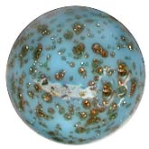 Contemporary Czech handmade bead. Mottled blue with subtle aventurine sparkles. 10mm. Sold individually. b11-bl-0933-1