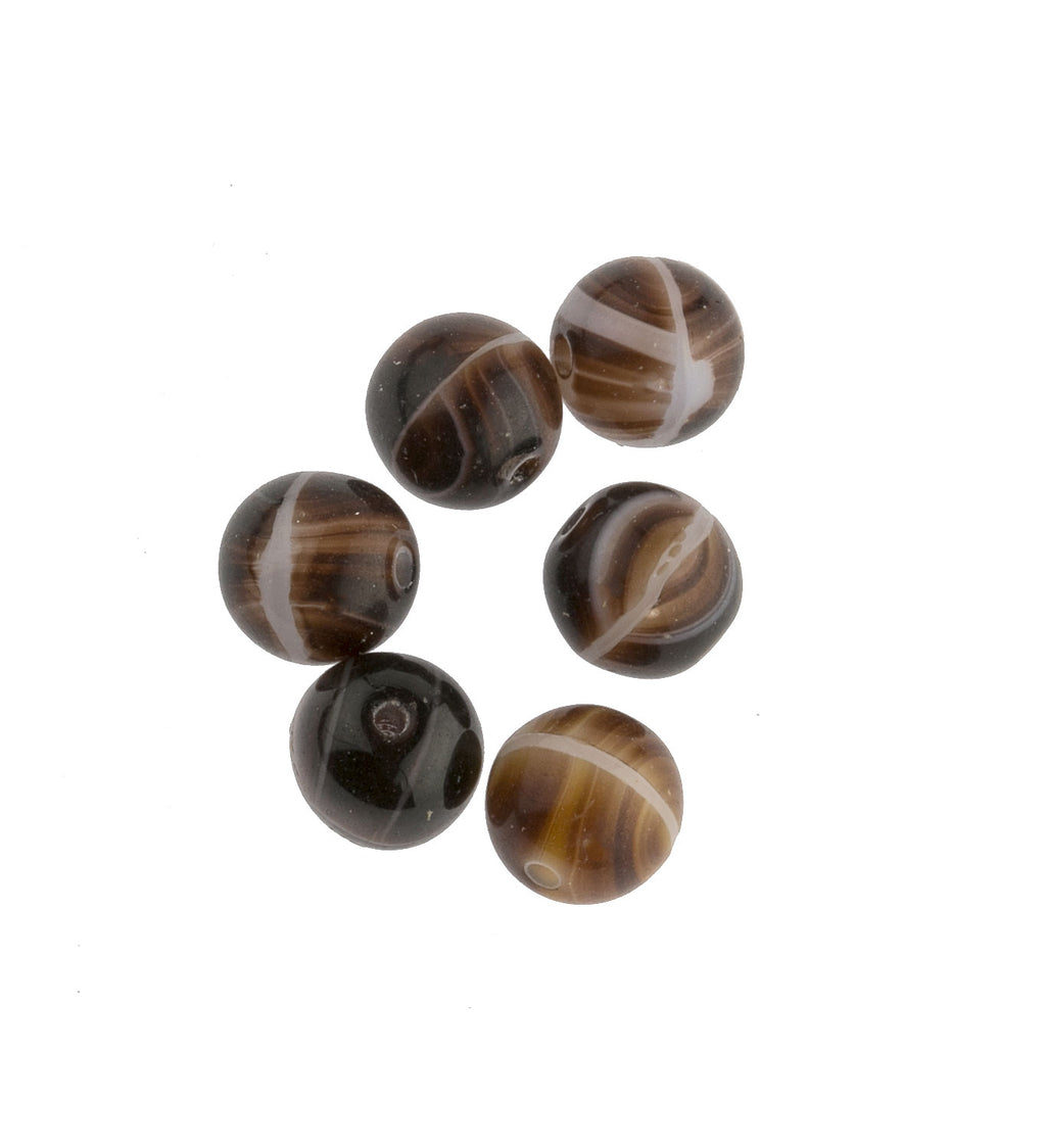 Czech Glass Round Faux Sardonyx Beads 7mm.  Pkg of 20. B11-BR-0408A