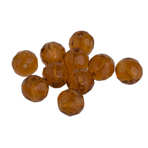 Czech topaz firepolished 8mm rounds. Pkg of 10. b11-br-0704(e)