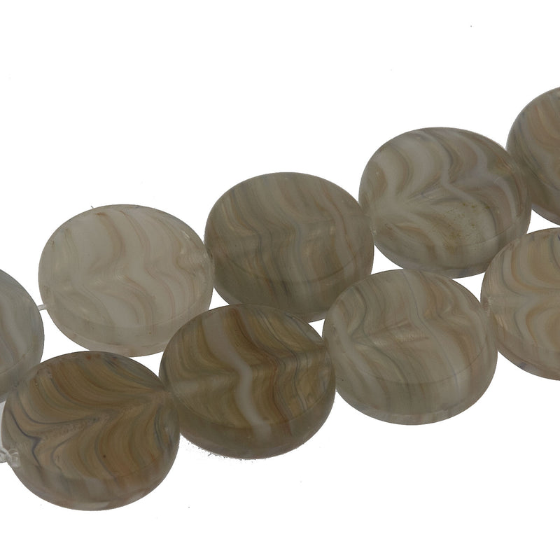 Czech glass faux quartz polished dime beads.8x3mm. Pkg of 6. b11-br-0729(e)