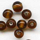 b11-br-0745-Vintage translucent root beer glass rounds. 4mm. Pkg of 50
