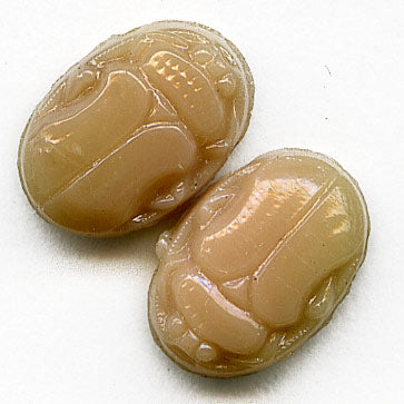 Vintage 2 hole scarab beads, 10x8mm. pkg of 8. b11-br-0746(e)