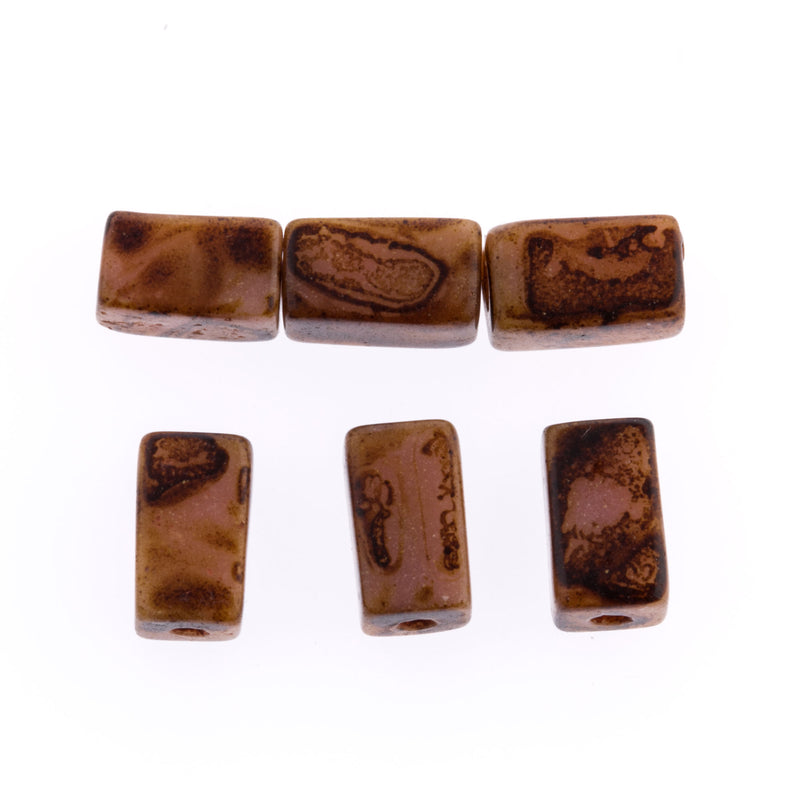 Vintage Czech picasso finish glass rectangle beads. 10x5mm. Pkg of 6. b11-br-0752
