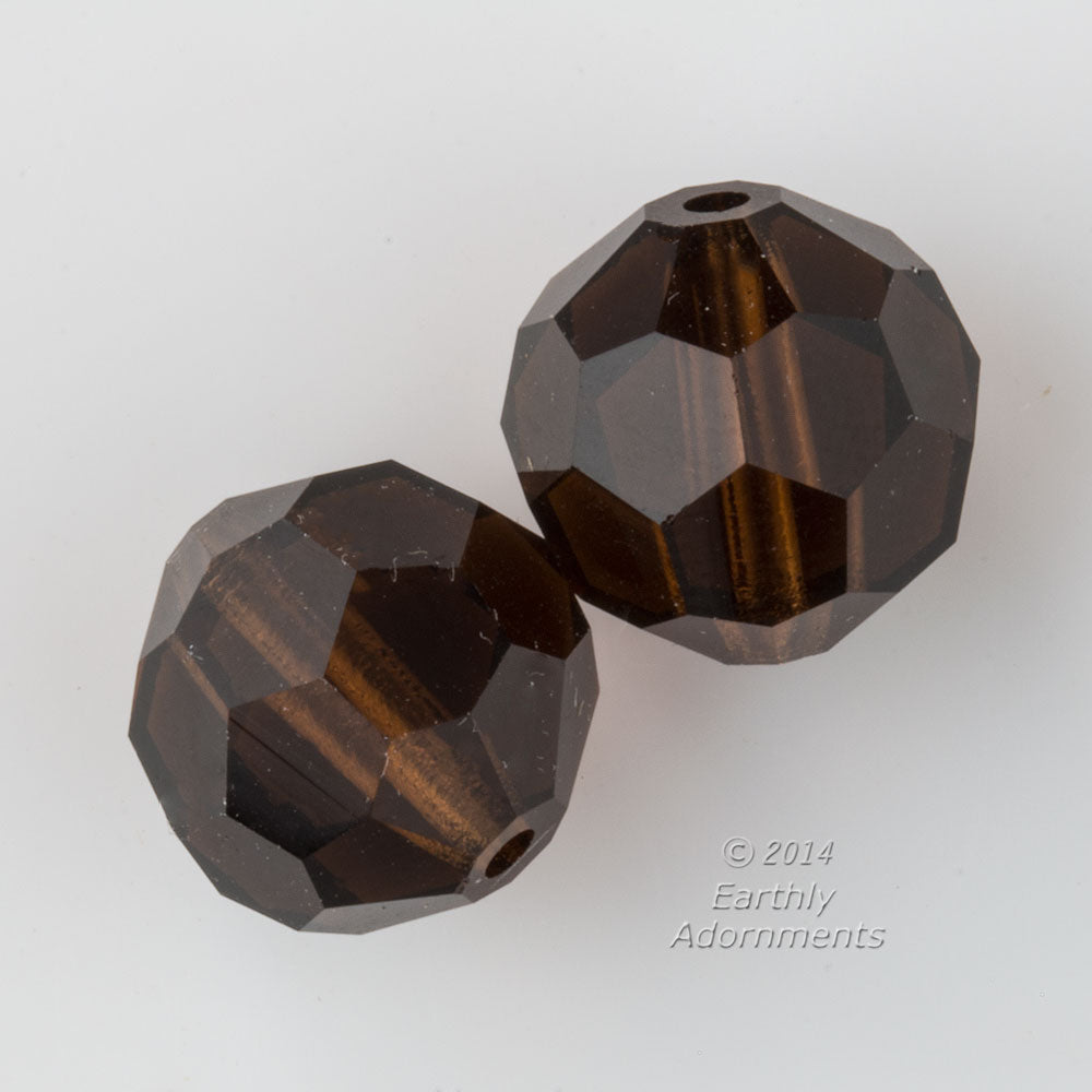 Preciosa Art. 451 19 602. Machine cut smoked topaz 12mm rounds.