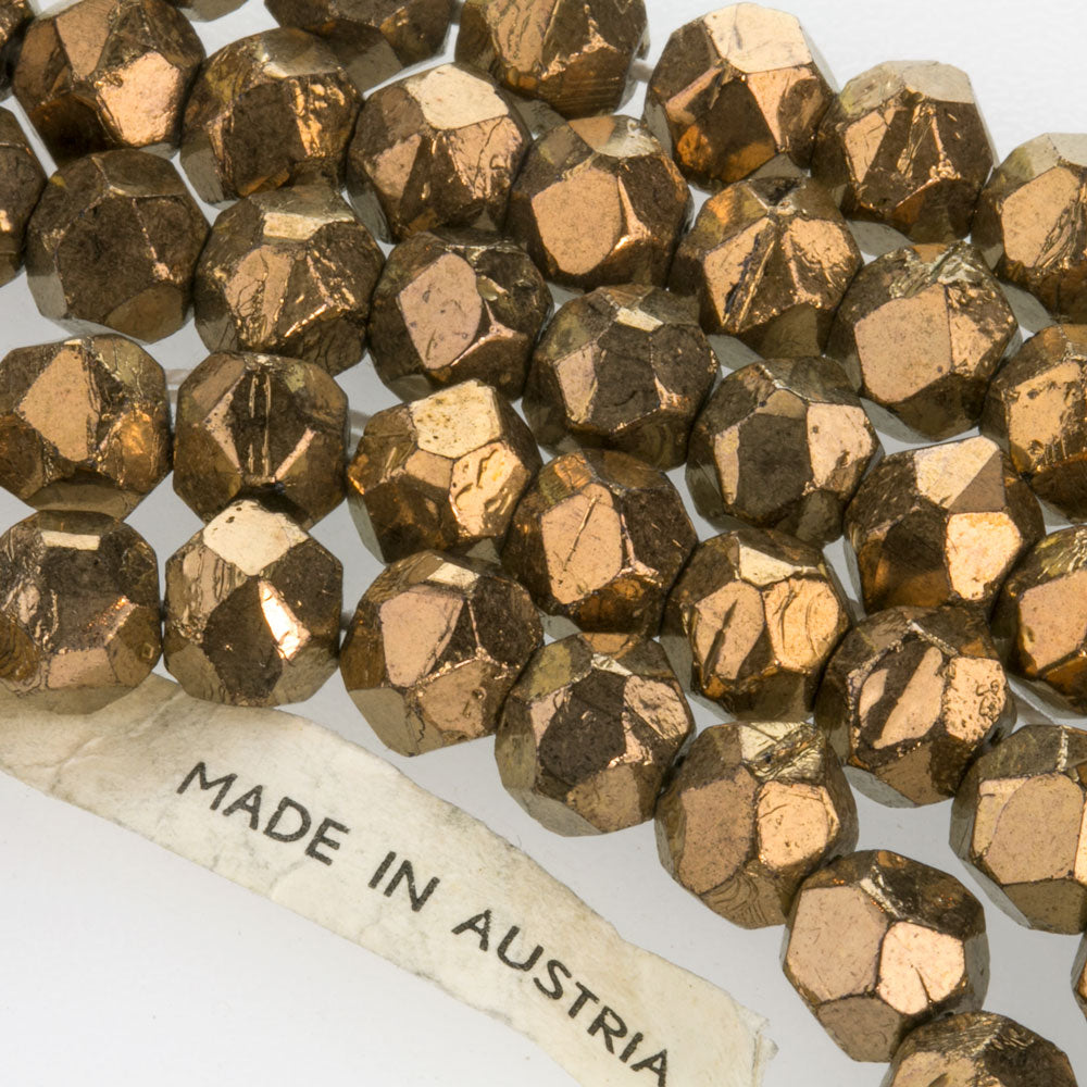 Vintage Austrian bronze glass English cut beads. 8mm. Pkg of 10. B11-BR-0404(e)