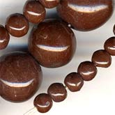 "Vintage Bohemian graduated chocolate brown glass bead 18"" strand. B11-BR-0759-2"