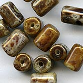 Vintage Czech Picasso glass cylinders. 10x5mm. Pkg of 10. b11-br-0738(e)