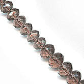 Smoky topaz glass gemstone cut graduated strand. 1-15.5