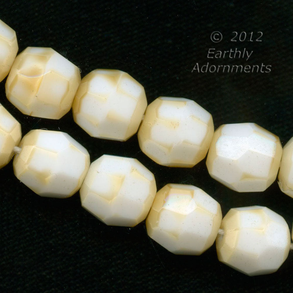 Vintage opaque milk white faceted rounds with tan frosting. 10mm. Pkg. of 6. B11-br-808