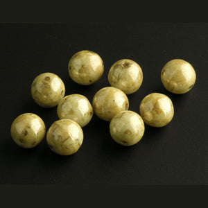 Vintage Czech lustrous light mustard yellow speckled brown Picasso finish glass beads  7mm. Pkg  20.  b11-br-0812