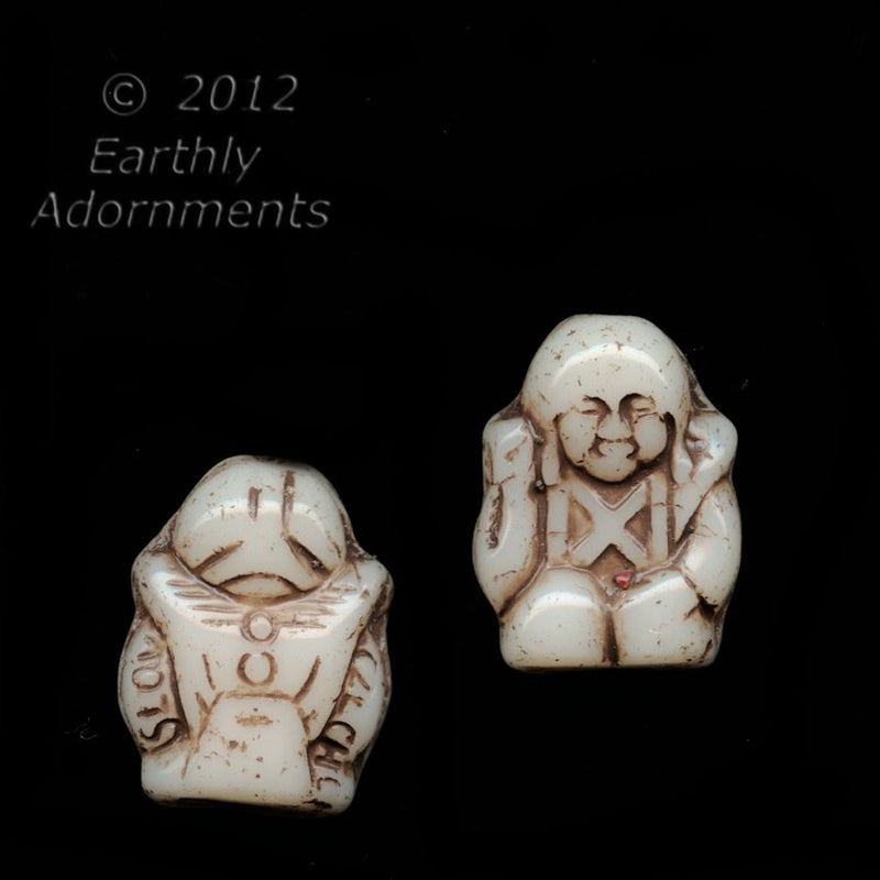 Czech molded glass Buddha bead. Pkg of 4. b11-bw-0843(e)