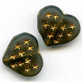 b11-bw-0911-Translucent charcoal gray hearts with gold stars. 15x13x5mm. Pkg of 4