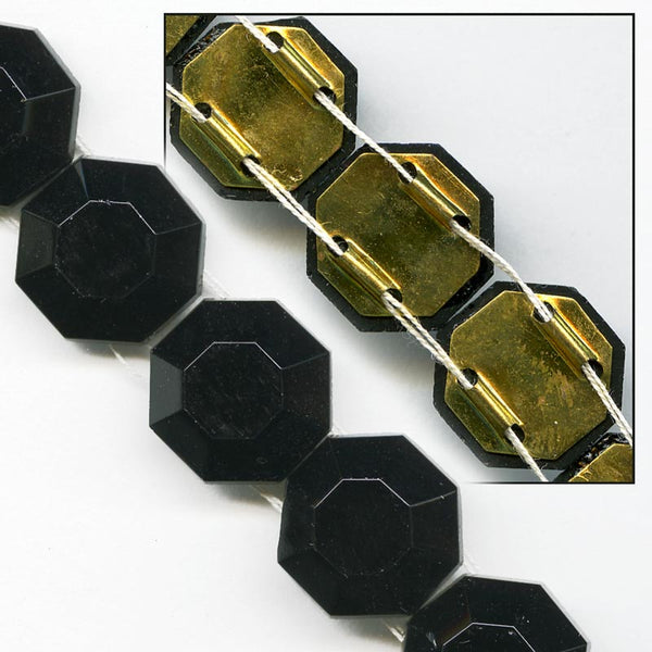 b11-bw-0918-Vintage German jet glass foil back 2 channel octagonal beads 12x10mm pkg of 10