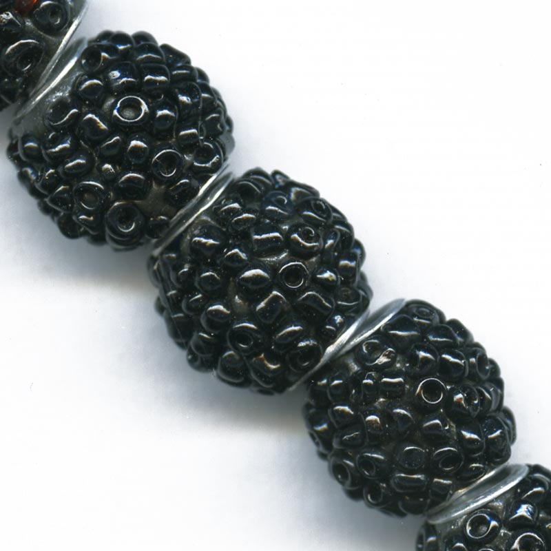 Black iris glass beaded beads 14mm pkg of 2. b11-bw-0996