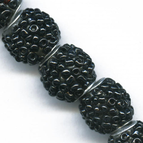 b11-bw-0979-Black glass beaded beads 14mm pkg of 2