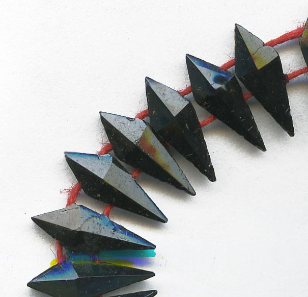 Old Bohemian dagger shaped faceted jet glass 2 hole beads. 10x4mm. pkg of 10. B11-BW-0986.
