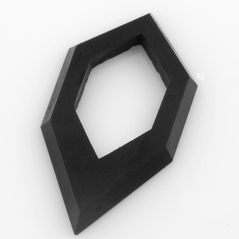 Vintage Art Deco cut jet glass geometric ring. 16x27mm. Package of 2. B11-BW-1008.