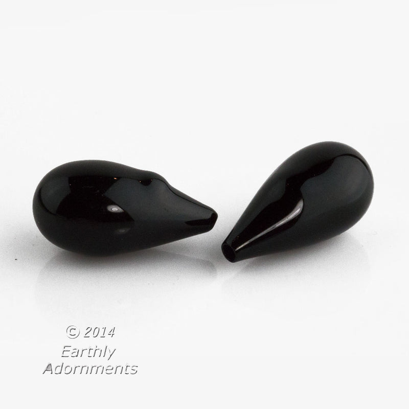 Vintage Art Deco rare hollow baroque jet glass top-hole teardrop. 21x13mm avg. size. 1 matched pair. b11-bw-1027c