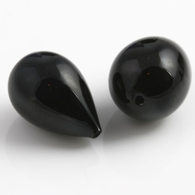 Vintage Art Deco hollow lustrous glass teardrop bead. 30x10mm.x Package of 2. b11-bw-1036